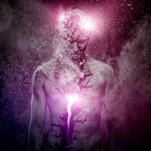 Illustração da do corpo esfarelando com a alma interna
